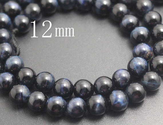 Natural Blue Tigereye Beads,6mm/8mm/10mm/12mm Smooth And Round Stone Beads,15 Inches One Starand