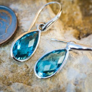 Blue Topaz Dangle Earrings Checkerboard Cut Blue Topaz Sterling Silver Earrings – Blue Topaz Earrings – Sterling Silver Blue Topaz Earrings