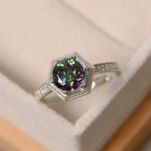 Shop Topaz Jewelry! Mystic topaz ring, engagement ring, with band, colorful ring, sterling silver | Natural genuine gemstone jewelry in modern, chic, boho, elegant styles. Buy crystal handmade handcrafted artisan art jewelry & accessories. #jewelry #beaded #beadedjewelry #product #gifts #shopping #style #fashion #product