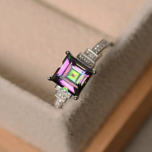 Shop Topaz Jewelry! Mystic topaz ring, sterling silver, square cut ring, engagement ring | Natural genuine gemstone jewelry in modern, chic, boho, elegant styles. Buy crystal handmade handcrafted artisan art jewelry & accessories. #jewelry #beaded #beadedjewelry #product #gifts #shopping #style #fashion #product