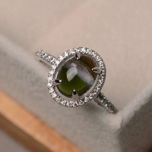 Natural Tourmaline, Oval Shaped Engagement Ring, Halo Ring, Gemstone Ring Silver