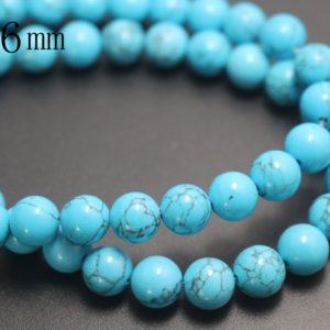 6mm Turquoise Beads,smooth And Round Stone Beads,15 Inches One Starand