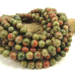 "Shop Unakite Round Beads! Unakite Beads, Natural Multi-Colored Unakite 8mm Round Beads, 16"" inch Strand, 8mm Green & Orange Beads, Beading Supplies, Item 677pm 