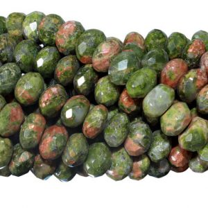 Shop Unakite Faceted Beads! 15 IN Strand 6 mm Unakite Rondelle Faceted Gemstone Beads (UNARLF0006) | Natural genuine faceted Unakite beads for beading and jewelry making.  #jewelry #beads #beadedjewelry #diyjewelry #jewelrymaking #beadstore #beading #affiliate