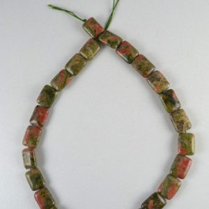 Unakite Square Stone Beads, Sold By 1 Strand 25pcs, 19x12mm, 1mm Hole Opening, 53.0grams/pk