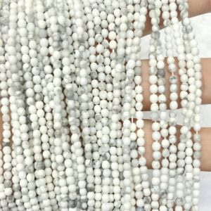 Shop Howlite Round Beads! White Howlite Beads 2mm 3mm 4mm Faceted Beads Howlite Round Beads Natural 2mm 3mm white Beads Spacer Beads Tiny Beads White Gemstone Beads | Natural genuine round Howlite beads for beading and jewelry making.  #jewelry #beads #beadedjewelry #diyjewelry #jewelrymaking #beadstore #beading #affiliate #ad