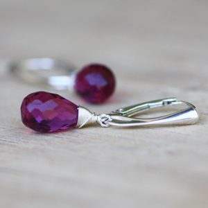Wire Wrapped Briolette Purple Rhodolite Garnet Earrings In Sterling Silver , January Birthstone , 15th Anniversary , Wedding , Bridal