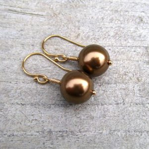 14k Gold Filled Pearl Earrings, Chocolate Brown Sea Shell Pearls, Dangle Earrings, June Birthstone Jewelry