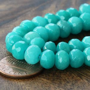 30 Pcs Dyed Jade Beads, Teal, 8x5mm Faceted Rondelle – Edjx-fr003-5×8