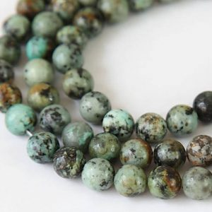 African Turquoise Beads, Green, 6mm Round – 15 Inch Strand – Egr-1571-6