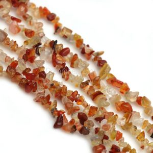 Stone Chips Beads, Natural Stone Chips, Gemstone Chips, Jewelry Chips, 35 Inch Long Strand Orange Agate Chips For Diy Jewelry Making