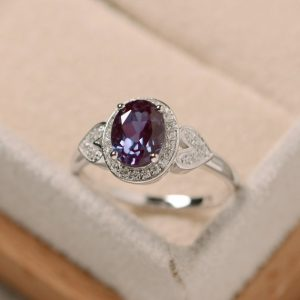 Alexandrite Ring, Oval Cut Ring, Sterling Silver