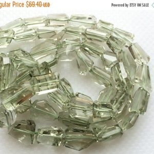 Shop Amethyst Faceted Beads! Green Amethyst Beads, Faceted Tumble Beads, Step Cut, AAA Gems, Green Amethyst Gemstones, 12-23mm Beads, 14 Pieces, 8 Inch Half Strand | Natural genuine faceted Amethyst beads for beading and jewelry making.  #jewelry #beads #beadedjewelry #diyjewelry #jewelrymaking #beadstore #beading #affiliate #ad