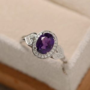 Amethyst Ring, Sterling Silver, Halo Ring, February Birthstone, Purple Amethyst Ring | Natural genuine Array jewelry. Buy crystal jewelry, handmade handcrafted artisan jewelry for women.  Unique handmade gift ideas. #jewelry #beadedjewelry #beadedjewelry #gift #shopping #handmadejewelry #fashion #style #product #jewelry #affiliate #ad