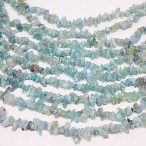 Aquamarine (a) Chip Stone Beads Strand – 36 Inch Full Strand ~ 3-7 Mm Chips, Stone Nuggets – 1 Strand