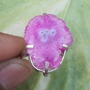 Beautiful Pink Solar Quartz Druzy Ring, Fashion Gift Ring, Artisan Handmade Gift Ring, Prong Set Unique Gift Ring, 925 Sterling Silver Ring