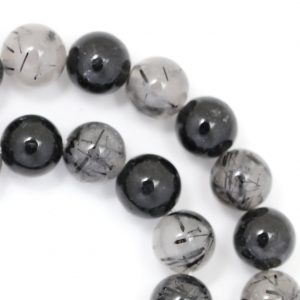 Black Tourmalated Quartz Beads – 8mm Round – Limited Quantity