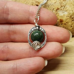 Small Green Bloodstone Pendant. March Birthstone. Reiki Jewelry Uk. Silver Plated Square Frame Necklace. 10mm Stone