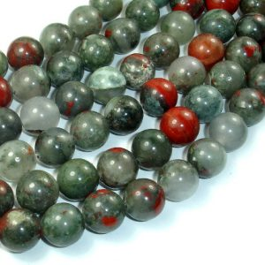 Shop Bloodstone Beads! African Bloodstone, 12mm (12.4 mm) Round Beads, 15.5 Inch, Full strand, Approx 32 beads, Hole 1.2 mm, A quality (124054005) | Natural genuine gemstone beads for making jewelry in various shapes & sizes. Buy crystal beads raw cut or polished for making handmade homemade handcrafted jewelry. #jewelry #beads #beadedjewelry #product #diy #diyjewelry #shopping #craft #product