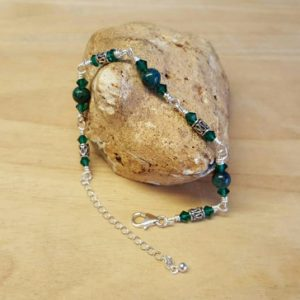 Sterling Silver Green Chrysocolla Bracelet. Reiki Jewelry Uk. Adjustable Bracelet With Extender Chain & Lobster Clasp