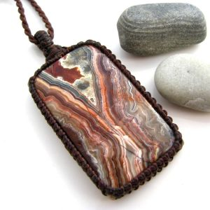 Crazy Lace Agate Necklace / Crazy Lace Agate Pendant, Southwestern Jewelry, Vegan Jewelry / Agate Necklace, Mexican Agate Necklace /  Funky