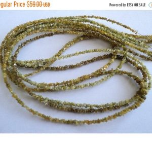 Shop Raw & Rough Diamond Beads! Yellow Rough Diamonds, Yellow Raw Diamonds, Yellow Raw Uncut Diamond Bead,  2mm, 4 Inch Strand, Diamond Necklace | Natural genuine beads Diamond beads for beading and jewelry making.  #jewelry #beads #beadedjewelry #diyjewelry #jewelrymaking #beadstore #beading #affiliate #ad
