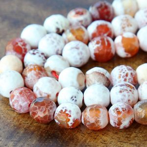 Faceted Fire Agate Beads, Caramel And White, 8mm Round – 14 Inch Strand – Egr-ag031-8