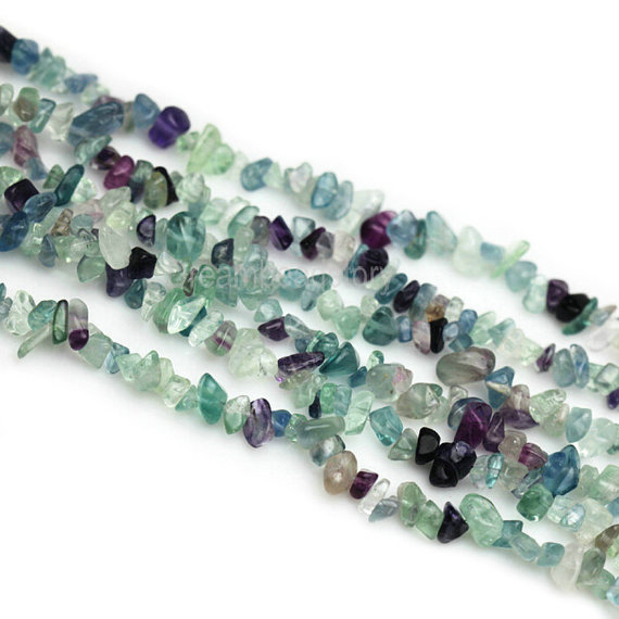 Mixed Color Stone Chips, Genuine Fluorite Chips, Long Strand 34 Inch Natural Chip Beads,  Green Gemstone Chips For Jewelry Beading