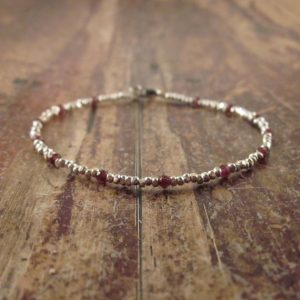 Garnet Bracelet Garnet Bracelets Beaded Bracelets January Birthstone Jewelry Womens Gift For Women Girlfriend Wife Garnet Gemstone Bracelet