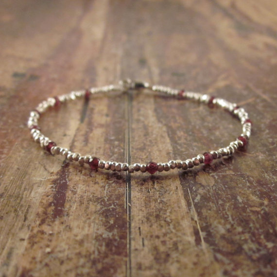 Genuine Garnet Bracelet, Red Garnet Bracelet, Garnet January Birthstone Bracelet, Garnet Jewelry, Beaded Bracelet, Womens Gift