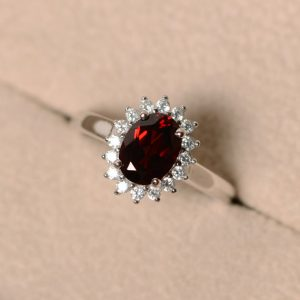 Garnet ring for women, halo garnet, engagement ring, January birthstone ring, oval cut
