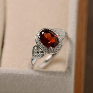 Red Garnet Ring, January Birthstone, Sterling Silver, Oval Cut, Halo Ring, Anniversary Ring