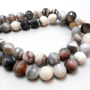 Gemstone Beads, Hong Kong Cut,unique  Botswana Agates Faceted Rounds, Bead 8mm, Half Strand