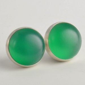 Green Onyx 10mm Sterling Silver Stud Earrings Pair