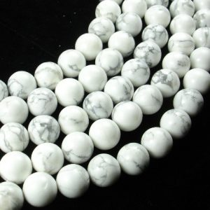 White Howlite, 10mm(10..5mm) Round Beads , 15.5 Inch, Full Strand, Approx 37 Beads, Hole 1 Mm, A Quality (275054004)