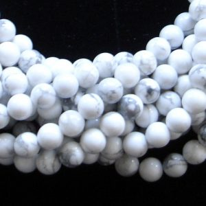 White Howlite Beads, Round, 4mm (4.7 Mm), 15.5 Inch, Full Strand, Approx 86 Beads, Hole 0.8 Mm, A Quality (275054001)