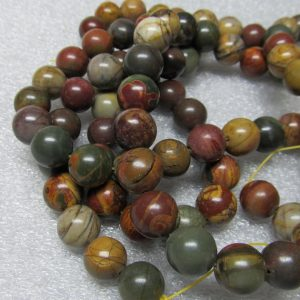 Shop Red Jasper Beads! Jasper Beads 12mm Smooth Round Natural Picasso Jasper Multicolored Rounds – 8 Pieces | Natural genuine beads Jasper beads for beading and jewelry making.  #jewelry #beads #beadedjewelry #diyjewelry #jewelrymaking #beadstore #beading #affiliate #ad