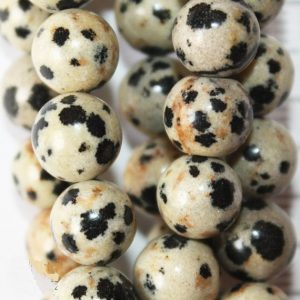 "Natural Dalmation Jasper Beads – Round 8 mm Gemstone Beads – Full Strand 15 1/2"", 48 beads, A Quality"