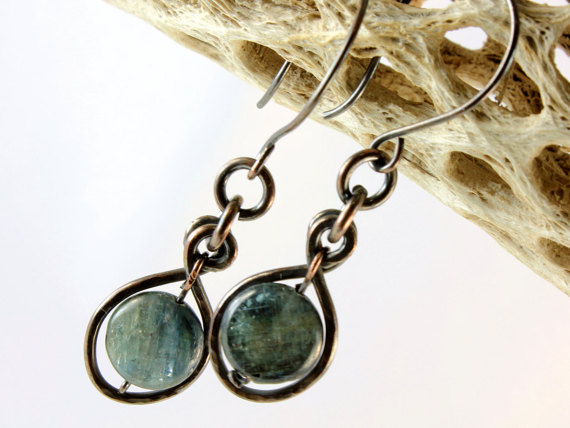 Blue Kyanite Earrrings Copper Wire Wrapped Natural Blue Gemstone Long Dangle Statement Drops Hand Forged Mother's Day Gift For Women 3023