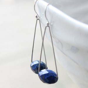 Shop Lapis Lazuli Earrings! Lapis Lazuli Earrings, Sterling Silver, cobalt blue gemstone original modern artisan earrings, December birthstone holiday gift for her 4061 | Natural genuine Lapis Lazuli earrings. Buy crystal jewelry, handmade handcrafted artisan jewelry for women.  Unique handmade gift ideas. #jewelry #beadedearrings #beadedjewelry #gift #shopping #handmadejewelry #fashion #style #product #earrings #affiliate #ad