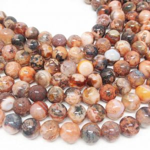 "Lot Of 5 Strands 8mm Fire Agate Beads, Wholesale Beads, Natural Beads, Semi Precious Stones, 15 1/2"" Length, Round Beads, Wholesale Gems"