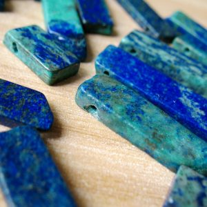 Natural Green Lapis Lazuli Slice Bead Top Drilled Lapis Lazuli Slab Charms Pendant Beads A021