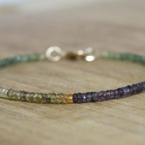 Natural Green Yellow And Purple Sapphire Rondelle Beaded Bangle Bracelet 14k Yellow Gold Filled, 5th Anniversary , Wedding , Bridal , Autumn