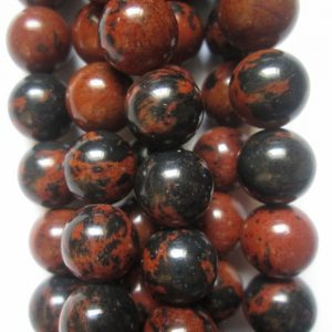 "Shop Obsidian Beads! Genuine Mahogany Obsidian Beads – Round 8 mm Gemstone Beads – Full Strand 15 1/2"", 47 beads, A Quality 