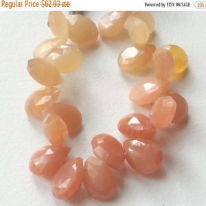 On Sale 55% Peach Moonstone, Shaded Peach Orange Faceted Pear Beads, Moonstone Necklace, 12x9mm Each, 24 Pcs Approx, 4.5 Inch Strand