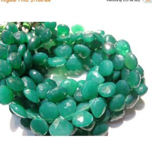 Shop Onyx Faceted Beads! 10-11mm Green Onyx Faceted Heart Briolettes, Green Onyx Faceted Heart Beads, Emerald Green Onyx Heart Beads For Jewelry (4IN To 8IN Options) | Natural genuine faceted Onyx beads for beading and jewelry making.  #jewelry #beads #beadedjewelry #diyjewelry #jewelrymaking #beadstore #beading #affiliate #ad