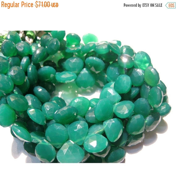 10-11mm Green Onyx Faceted Heart Briolettes, Green Onyx Faceted Heart Beads, Emerald Green Onyx Heart Beads For Jewelry (4in To 8in Options)