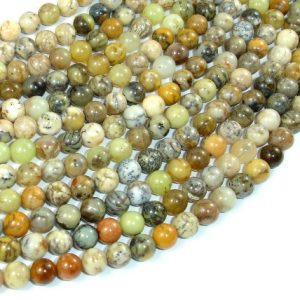 Dendritic Opal Beads, Moss Opal, 6mm Round Beads, 16 Inch, Full Strand, Approx 66 Beads, Hole 0.8 Mm, A Quality (441054005)