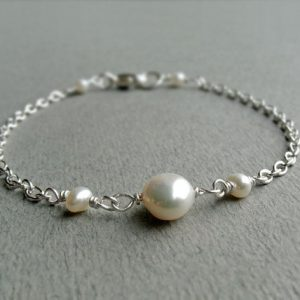 Shop Dainty Jewelry! A-grade Freshwater Pearl Sterling Silver Bracelet, Ivory White Pearl, Dainty Minimalist, June Birthstone, Wedding Jewellery, Gift For Her | Natural genuine Gemstone jewelry. Buy handcrafted artisan wedding jewelry.  Unique handmade bridal jewelry gift ideas. #jewelry #beadedjewelry #gift #crystaljewelry #shopping #handmadejewelry #wedding #bridal #jewelry #affiliate #ad