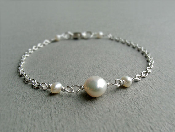 Freshwater Pearl Sterling Silver Bracelet, A Grade Ivory White Pearl, Dainty Minimalist, June Birthstone, Wedding Jewellery, Gift For Her